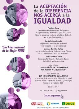 Cartel de la Mesa Redonda organizada por la ONCE en el Día Internacional de la Mujer