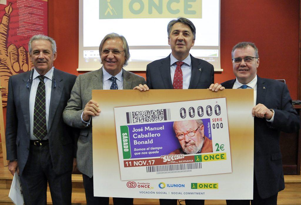 Presentación de la imagen del cupón en la sede de la Fundación Caballero Bonald