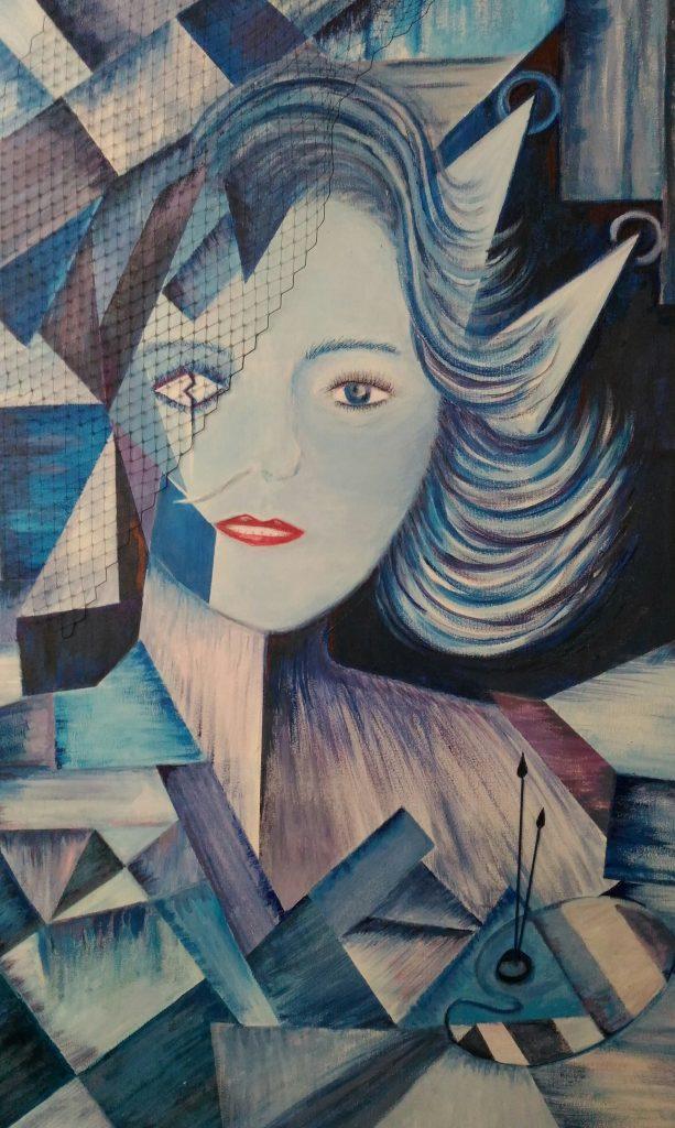 Una de las pinturas fraccionadas que expone Paky García en la exposición del ILUNION Málaga