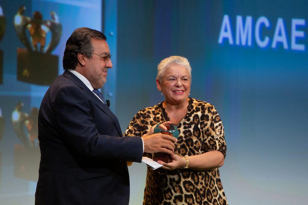 El presidente del Grupo Social ONCE, Miguel Carballeda, entrega el premio a Pilar Gómez, presidenta de AMCAE